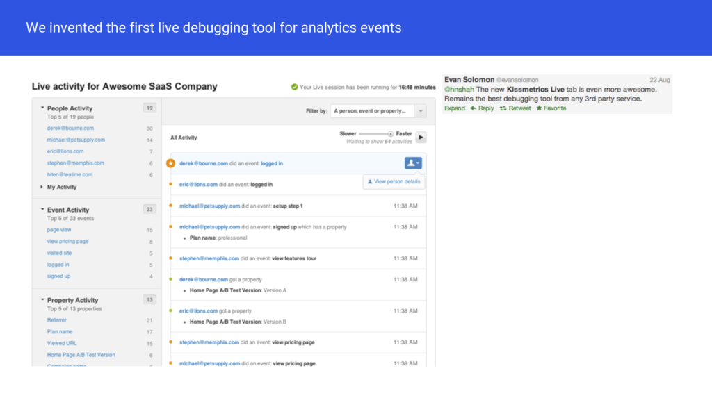 KISSmetrics live debugger