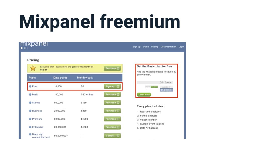 Mixpanel freemium