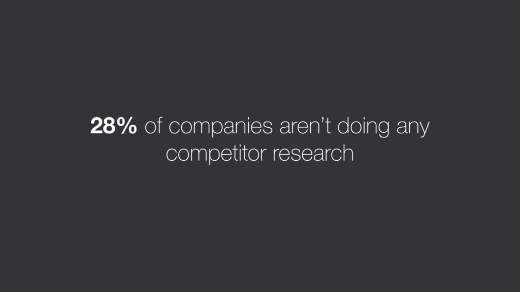 28 percent no competitors research
