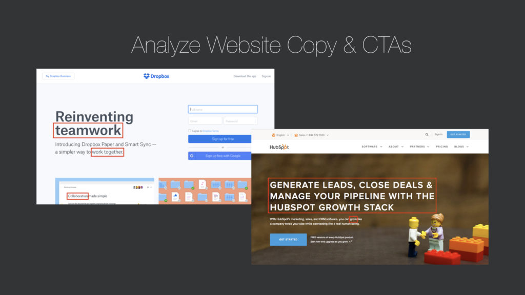 Analyze website copy and CTAs