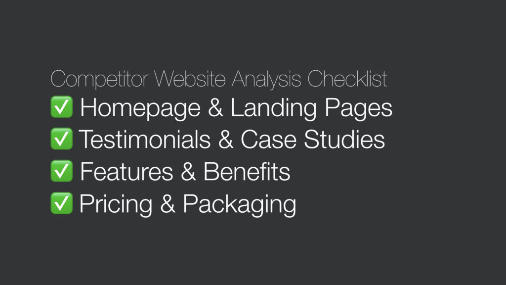 Competitor website analysis checklist